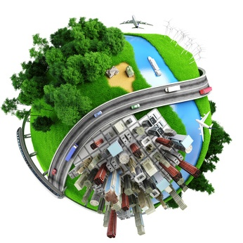 concept miniature globe showing the various modes of transport and life styles in the world, isolated on white background